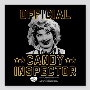 """Lucy Candy Inspector Square Car Magnet 3"""" x 3"""""""