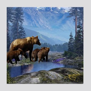 Mountain Grizzly Bears Tile Coaster