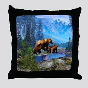 Mountain Grizzly Bears Throw Pillow