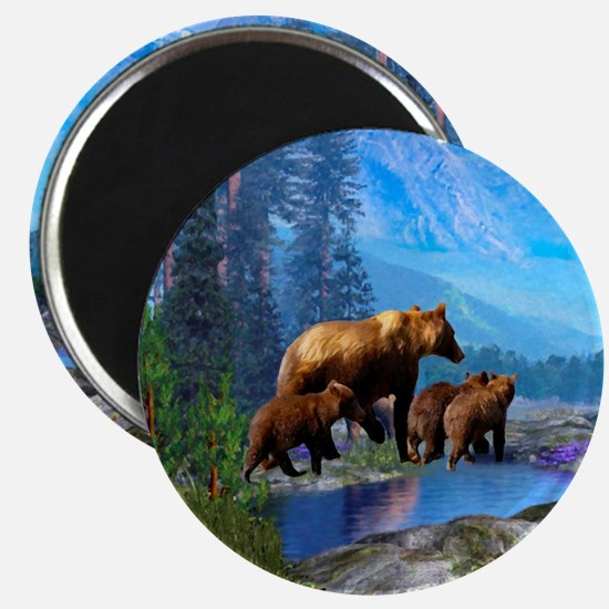 Mountain Grizzly Bears Magnet Magnets