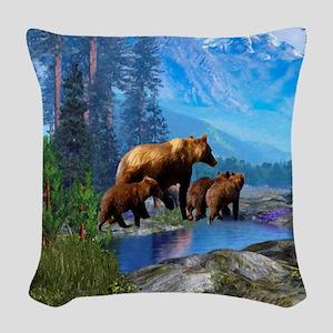Mountain Grizzly Bears Woven Throw Pillow