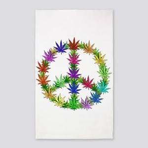 Rainbow Peace Marijuana Leaf Art 3'x5' Area Rug