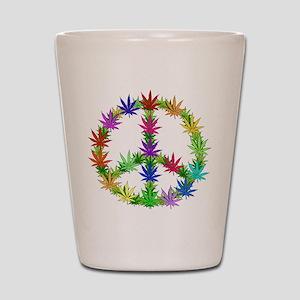 Rainbow Peace Marijuana Leaf Art Shot Glass