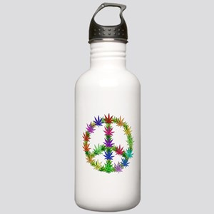 Rainbow Peace Marijuana Leaf Art Stainless Water B