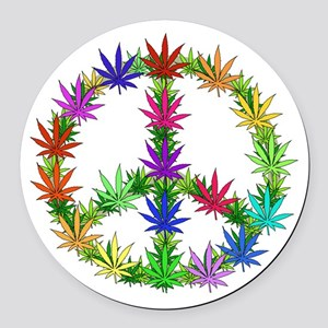 Rainbow Peace Marijuana Leaf Art Round Car Magnet
