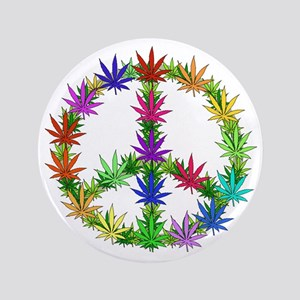 "Rainbow Peace Marijuana Leaf Art 3.5"" Button"