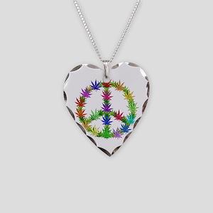 Rainbow Peace Marijuana Leaf Art Necklace Heart Ch