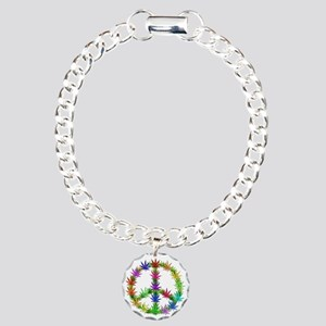 Rainbow Peace Marijuana Leaf Art Charm Bracelet, O