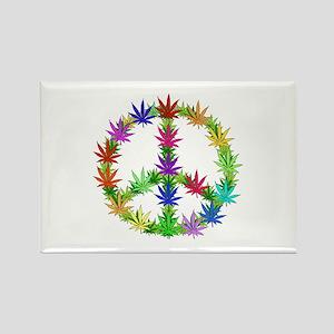 Rainbow Peace Marijuana Leaf Art Rectangle Magnet