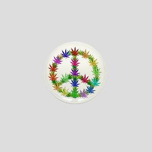 Rainbow Peace Marijuana Leaf Art Mini Button