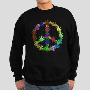 Rainbow Peace Marijuana Leaf Art Sweatshirt (dark)