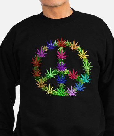 Rainbow Peace Marijuana Leaf Art Sweatshirt (dark)