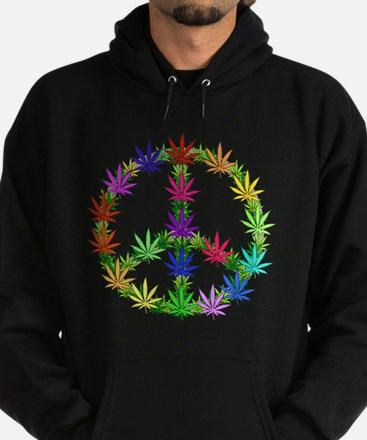 Rainbow Peace Marijuana Leaf Art Hoodie (dark)