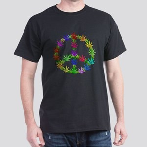 Rainbow Peace Marijuana Leaf Art Dark T-Shirt