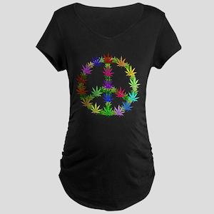 Rainbow Peace Marijuana Leaf Art Maternity Dark T-