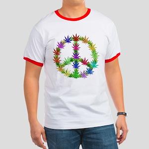 Rainbow Peace Marijuana Leaf Art Ringer T
