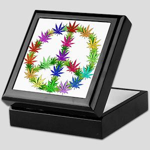 Rainbow Peace Marijuana Leaf Art Keepsake Box