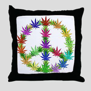 Rainbow Peace Marijuana Leaf Art Throw Pillow