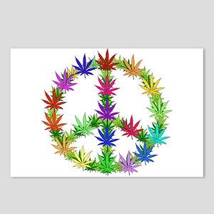 Rainbow Peace Marijuana Leaf Art Postcards (Packag