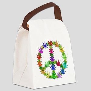 Rainbow Peace Marijuana Leaf Art Canvas Lunch Bag