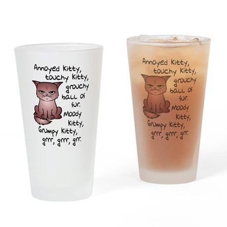 Grouchy Kitty Drinking Glass
