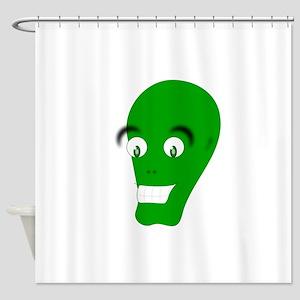 Green Alien Face Shower Curtain