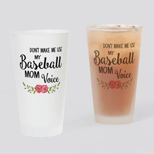 Baseball Mom Voice Drinking Glass
