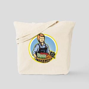 Organic Farmer Farm Produce Harvest Retro Tote Bag