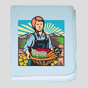 Organic Farmer Farm Produce Harvest Retro baby bla