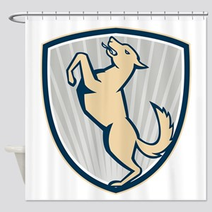 Prancing Dog Side Shield Shower Curtain