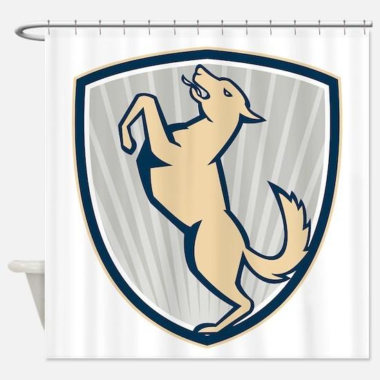 Prancing Dog Side Shield Shower Curtain