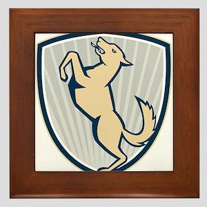 Prancing Dog Side Shield Framed Tile