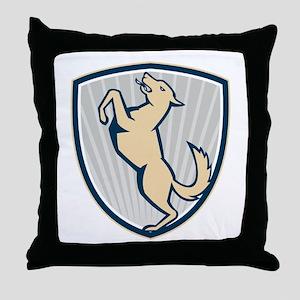 Prancing Dog Side Shield Throw Pillow