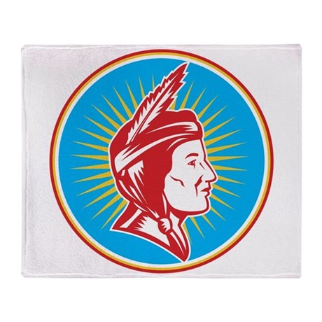 Native American Indian Squaw Woman Throw Blanket