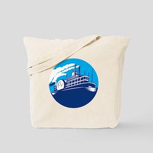 Steamboat Ferry Passenger Ship Retro Tote Bag