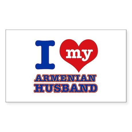 I love my Armenian husband Sticker (Rectangle)