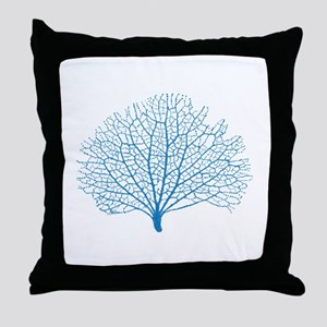 blue sea fan coral Throw Pillow
