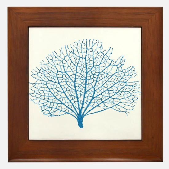 blue sea fan coral Framed Tile