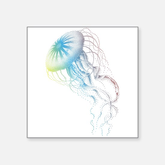 colorful jellyfish silhouette Sticker
