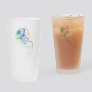 colorful jellyfish silhouette Drinking Glass
