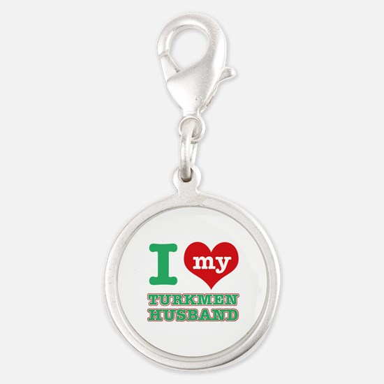 I love my Turkmen husband Silver Round Charm