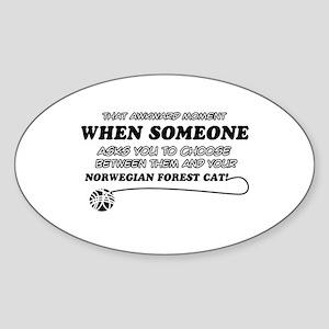 Norwegian Forest Cat designs Sticker (Oval)