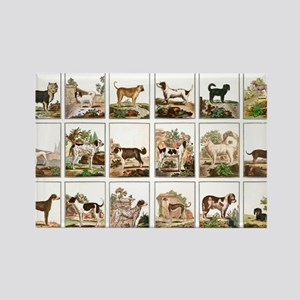 Dog Collection In Vintage Style Rectangle Magnet