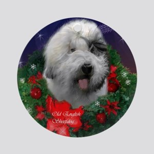 Old English Sheepdog Christmas Round Ornament
