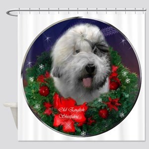 Old English Sheepdog Christmas Shower Curtain