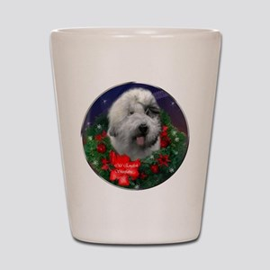 Old English Sheepdog Christmas Shot Glass