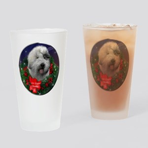 Old English Sheepdog Christmas Drinking Glass