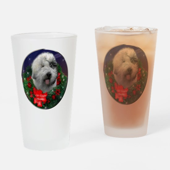 Old English Sheepdog Christmas Drinking Glass