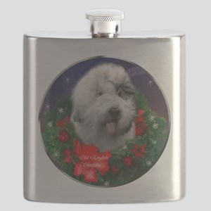 Old English Sheepdog Christmas Flask