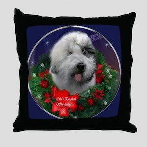 Old English Sheepdog Christmas Throw Pillow